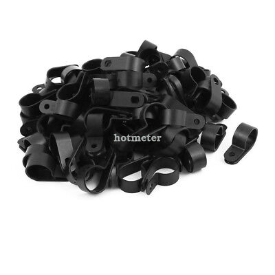 "100Pcs Nylon R Type CC-5 3/4"" Cable Cord Wire Clamp Clip Fastener Black 38x12x21"