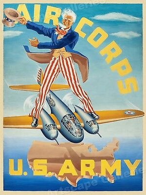 U.S. Army Air Corps Uncle Sam 1940s Vintage Style WWII Poster - 20x28