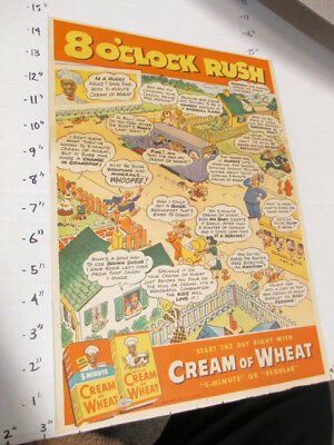 newspaper ad 1930s ? CREAM OF WHEAT comic strip cereal box 8AM rush black cook