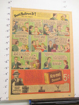 newspaper ad 1937 KRE-MEL dessert pudding Ripley's Believe It comic FAMILY DR