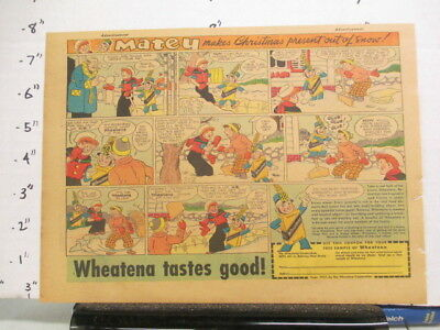 newspaper ad 1937 WHEATENA cereal box comic Free Sample premium Matey SNOW