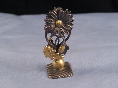 French Antique Art Nouveau Victorian Silver Plated Daisy Flower Desktop Seal
