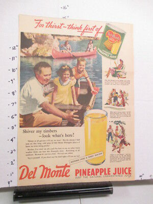 newspaper ad 1940s DEL MONTE pineapple juice WWII American Weekly canoe family