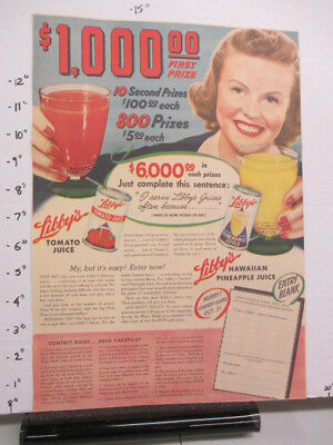 newspaper ad 1940s LIBBY'S pineapple tomato juice WWII American Weekly $1000