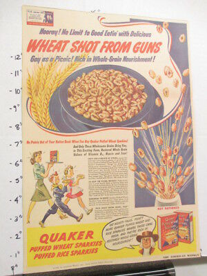 newspaper ad 1940s Quaker Puffed Wheat Rice cereal box WWII American Weekly TRIO