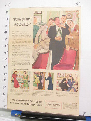 newspaper ad 1940s SANFORIZED clothing shirt collar American Weekly OLD MILL