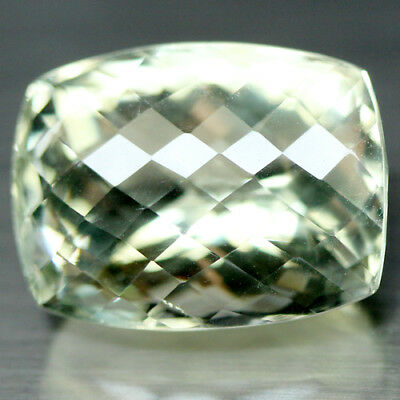 34.27 Ct Aaa! Natural! Green Uruguay Amethyst Cushion With Checkerboard Table