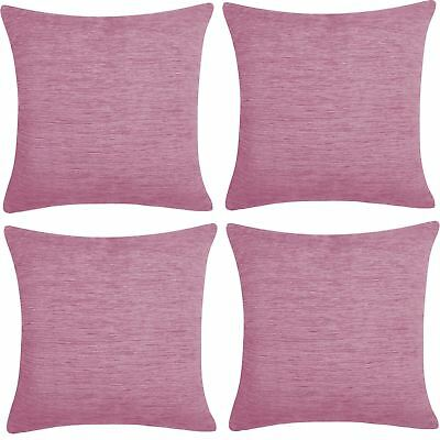 "4 x Luxury Plain Chenille Cushion Cover Soft Covers 43 x43cm, 17x17"", Mauve"