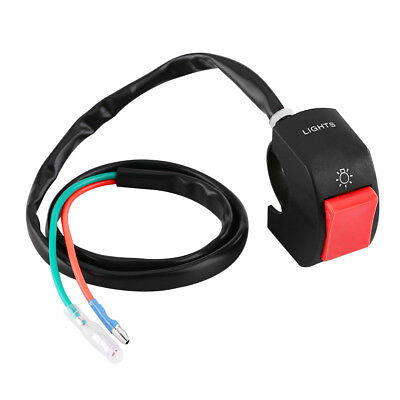 22mm Motorcycle Headlight Light Switch Plastic Handlebar Red Button Connector