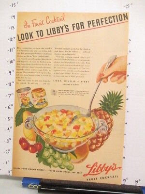 newspaper ad 1944 LIBBY'S fruit cocktail can jar pineapple grape American Weekly