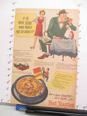 newspaper ad 1944 POST TOASTIES cereal box wife husband table American Weekly