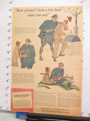 newspaper ad 1944 SANFORIZED clothing policeman mail box Am Weekly Time Bomb