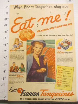 "newspaper ad 1945 American Weekly FLORIDA tangerines fruit sing out ""EAT ME"""