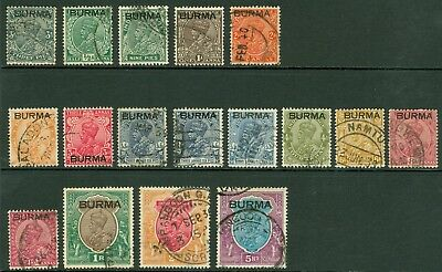 SG 1-15 Burma 1937 3p-5r. Good to fine used