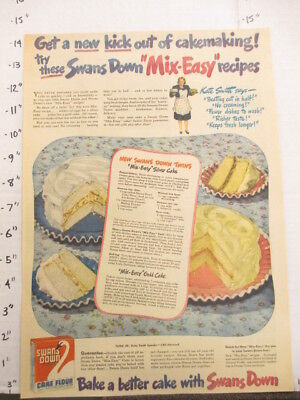 newspaper ad 1945 American Weekly SWANS DOWN cake flour baking recipe