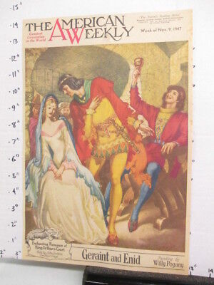 newspaper ad 1947 American Weekly King Arthur Geraint & Enid COVER ONLY