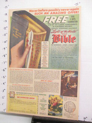 newspaper ad 1947 American Weekly LIGHT OF THE WORLD Bible offer book