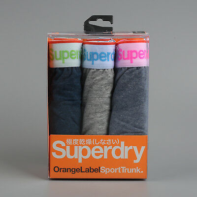 Superdry Size L Underwear Sport Trunk Triple Pack - Cyan/Gray/Marl