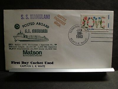 SS MANULANI, MATSON Naval Cover 1983 PAQUEBOT FIRST DAY Cachet