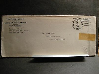 APO 206 ATHENS, GREECE 1953 Official Army Cover AMERICAN EMBASSY w/ letter