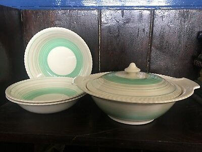 Grays Pottery 1940s or 1950s Cream Green Striped Dinnerware Tureen 3 Soup Bowls