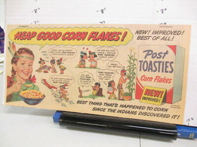 newspaper ad 1951 Post cereal box racist Indian HEAP GOOD smoke signals girl L