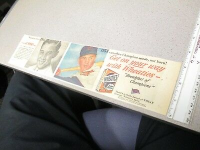 newspaper ad premium 1950s sports AL ROSEN baseball Wheaties cereal box comic (1