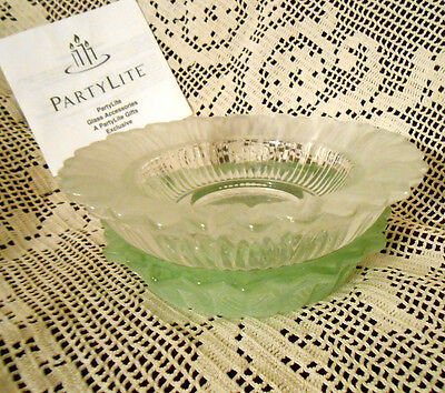 PartyLite 2 Piece Chamomile Glass Flower Pillar Candle Holder