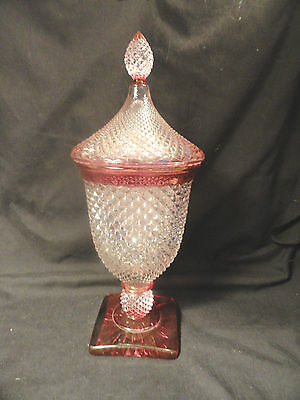 Westmoreland English Hobnail Urn Ruby Stain with Lid Candy Dish