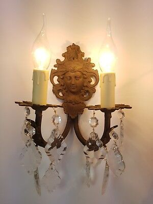 Pair of c1910 Brass Wall Lights with Classical Female Face Rewired & Restored