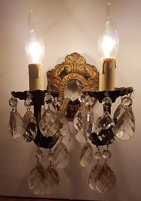 Pair of French c1910 Gilded Brass Crystal Wall Lights Rewired & Restored