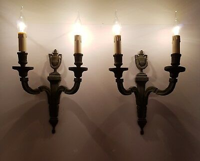 Pair of Large c1910 Classical Brass Wall Lights Rewired & Restored