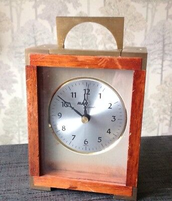 Vintage Brass Bound Avia Mantle Carriage Clock 13x10x6cm