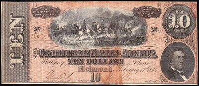 1864 T-68 $10 CSA Confederate Note! FREE SHIPPING! 7383
