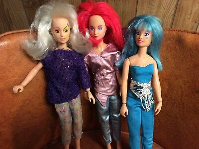 Lot of 3 - 1985 Jem and the Holograms - Dolls and Accessories - Aja Roxy Kimber