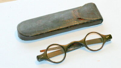 Rare Small Lenses Faux Tortoise Shell Spectacles + Case Etui, Good Cond. C 1780