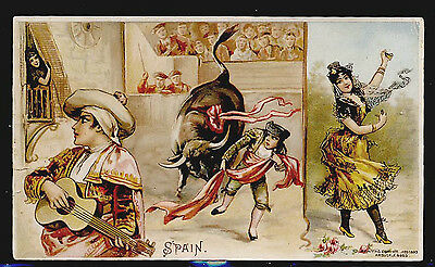 Arbuckle Coffee 1893 Trade Card Sports & Pastimes #10 Spain Bullfight Dancer