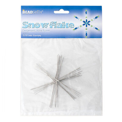 """Beadsmith 3.75"""" Wire Snowflake Forms (0.8mm) 8 Frames Pack of 8 (J11/1)"""