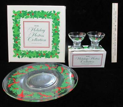 Avon Holiday Hostess Platter & Candlestick Holders Glass Set Mistletoe Holly