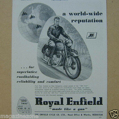 Royal Enfield 500 Twin motor cycle original magazine advert from / dated 1953
