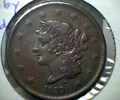 1839 Booby Head  Large Cent , Nice Vf