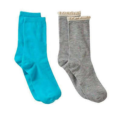 NEW!  Girls Capelli 2-Pack Crocheted and Solid Teal Boot Socks - Shoe Size 13-5
