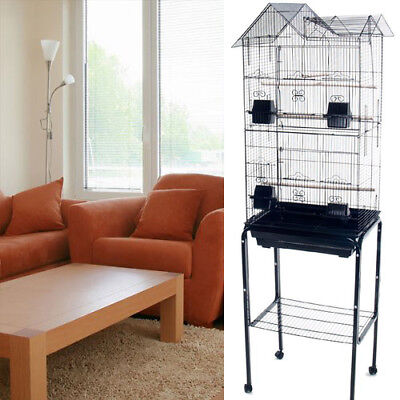New Large Tall Canary Parakeet Cockatiel Lovebird Finch Bird Cage Black With 149