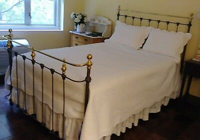 Antique Victorian Iron & Brass Full Size Bed Frame from Alice's Antiques