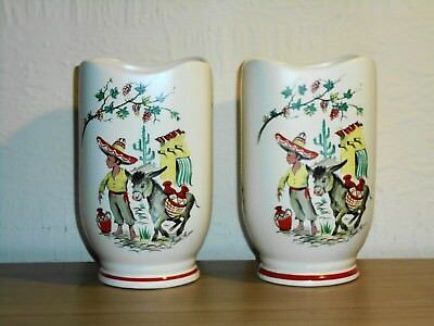 "A Vintage Pair of 6"" Tall Ringtons Tea Crown Ducal Collectable Vases Boy Donkey"