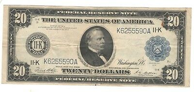 1914 $20 Large Sized U.S. Federal Reserve Note DALLAS TEXAS - No Reserve!!