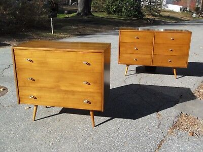 Pair of maple Paul McCobb planner group cabinets w/ bench 6 DRAWER SITS ON BENCH