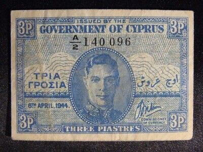 1944 Cyprus, Government of, 3 Piastres Circulated Note  ** FREE U.S. SHIPPING **