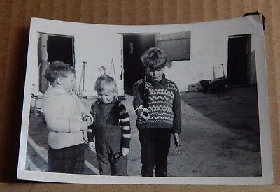 Photograph Social History 3 young boys in the farmyard playing Army 1960's