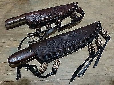 Lot 2 Patch Scalping Hunting Bowie Knives Knife W/ Beaded Sheath Case !